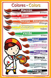 Spanish Language School Poster - Color wall chart for home and classroom - Spanish-English bilingual text