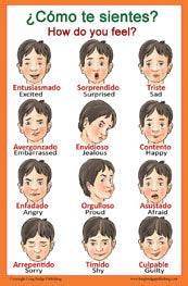 Spanish Language School Poster - Feelings - Wall Chart for Home and Classroom - Spanish and English Bilingual Text