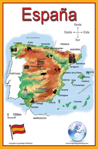 Spanish Language School Poster - Simplified Map of Spain - Wall chart for home and classroom - Text in Spanish