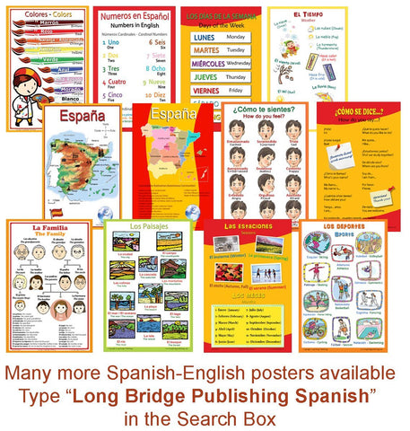 Spanish Language School Poster - Parts of the Body- Wall Chart for Home and Classroom - Spanish and English Bilingual Text