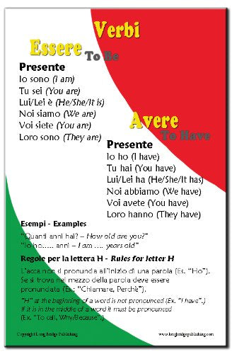 "Bilingual poster: Italian verbs ""Essere"" and ""Avere""  simplified for beginner Italian students"