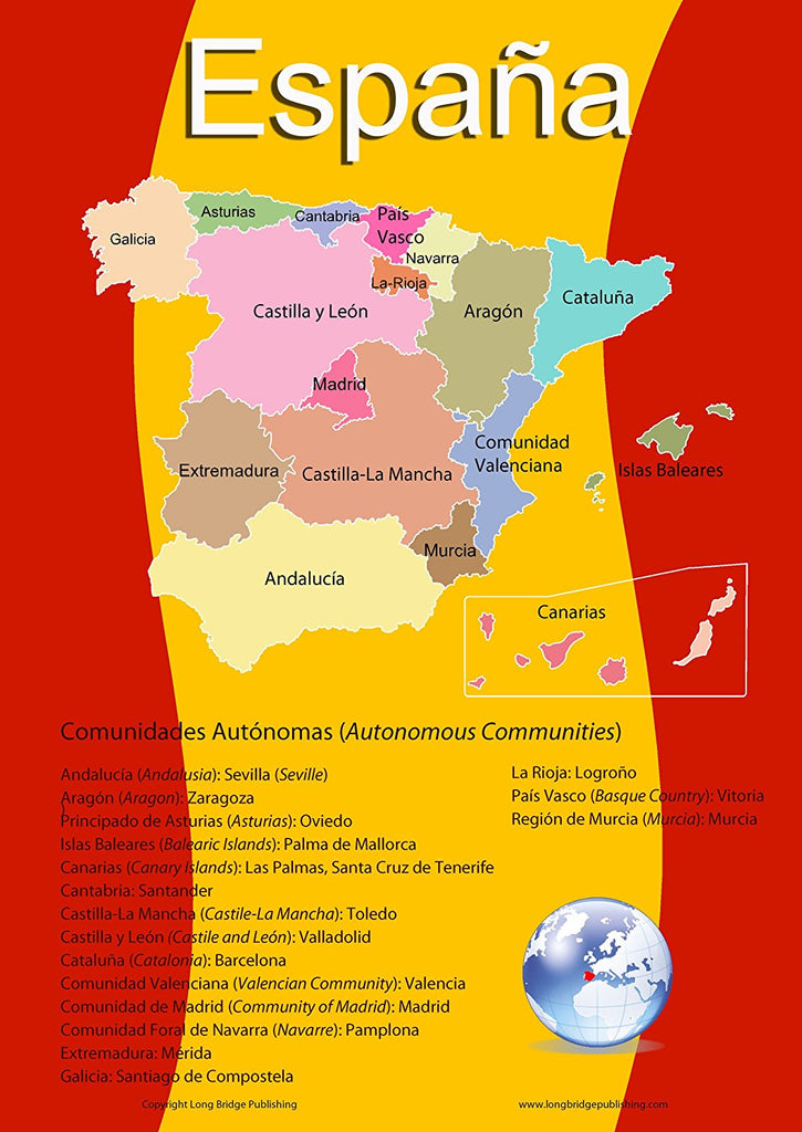 Spanish Language School Poster - Map of Spain with its 17 Autonomous Communities - Wall Chart for Home and Classroom - Spanish and English Bilingual Text