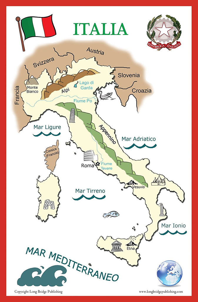 Italian Language Poster -Discover Italy, simplified school map of Italy