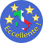 ECCELLENTE (excellent): Italian reward sticker with map of Italy and colors of the Italian flag and of the soccer team