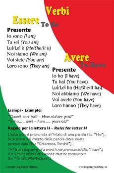 Italian Language School Poster - Verbs in Italian: Essere and Avere, Simplified Wall Chart