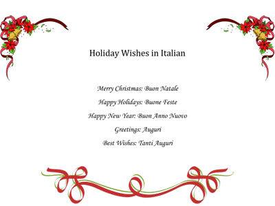 Holiday Wishes in Italian