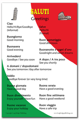 Italian Language Poster - Saluti: Common Greetings, for Classroom, Playroom and Language Schools (Bilingual: Text in Italian and English)