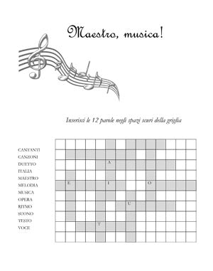 """Maestro, musica!"" A music themed italian language crossword puzzle"
