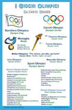 Italian Language Poster - Giochi Olimpici (Olympic Games Chart for Classroom and Playroom) Includes all current Olympic Games' sports, listed in Italian with the corresponding English word. It also includes Olympic symbols and terminology