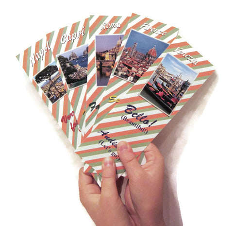 Italian English Bilingual Bookmarks - Assorted Images of Italy, for Language Learning, Rewards, and Giftgiving