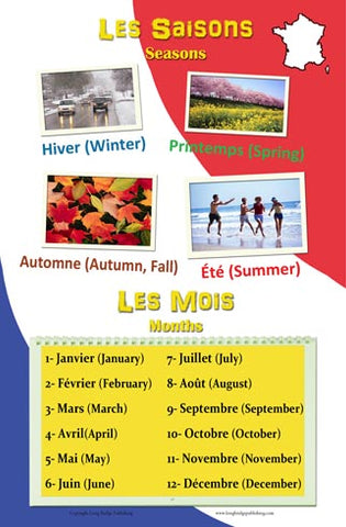 French language school poster - Seasons and months in French with English translation