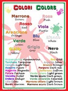 School Poster: Colori (Colors) (Colours) bilingual: Italian and English