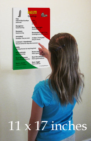 Italian Language Poster - Saluti: Common Greetings, for Classroom, Playroom and Language Schools (Bilingual: Text in Italian and English) - (11x17 inches)