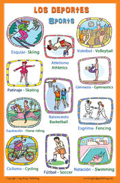 Spanish Language School Poster - Sports -  Wall chart for home and classroom - Bilingual: Spanish and English text