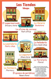 Spanish Language School Poster - Words About Shops/Stores - Tiendas en Español - Wall Chart for Home and Classroom - Bilingual: Spanish and English Text