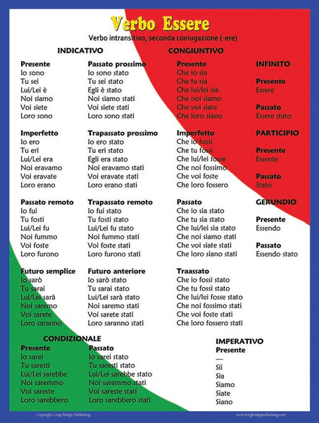 Large Posters Italian Verbs Essere And Avere To Be To Have A Long Bridge Publishing