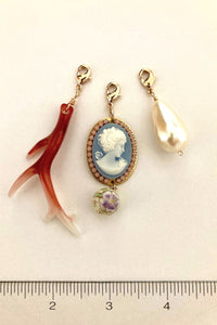 Faux coral branch, pearl and blue cameo charms for Arabella and Ella necklace
