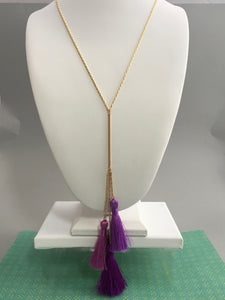 Triple Tassel Y Necklace