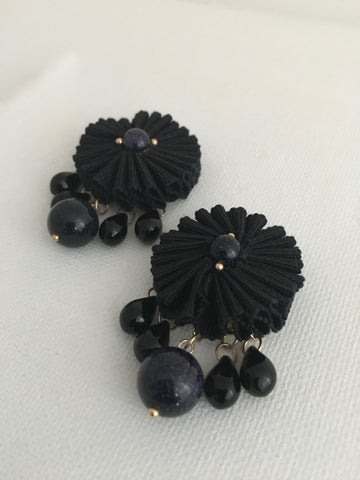 Pleated Flower Button Earrings