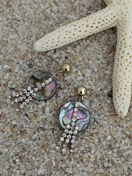 Abalone earrings with glass stones, beach party collection