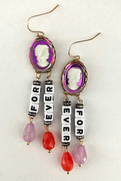 Forever slogan earrings, glass pearls and glass vitrail cameo