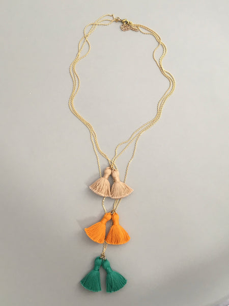 Triple Layered Tassel Necklace