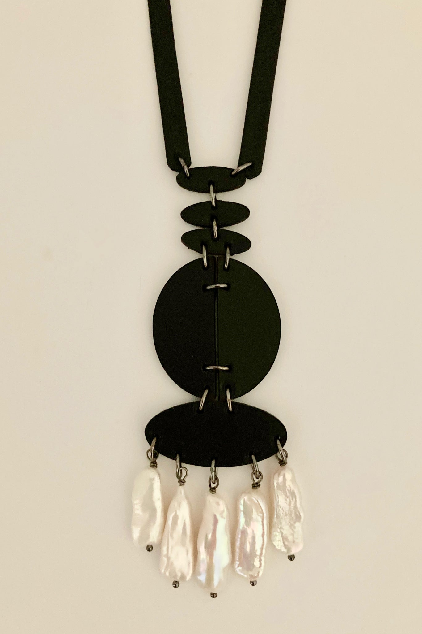 Lasercut leather necklace with pearls Leather Luxe Collection