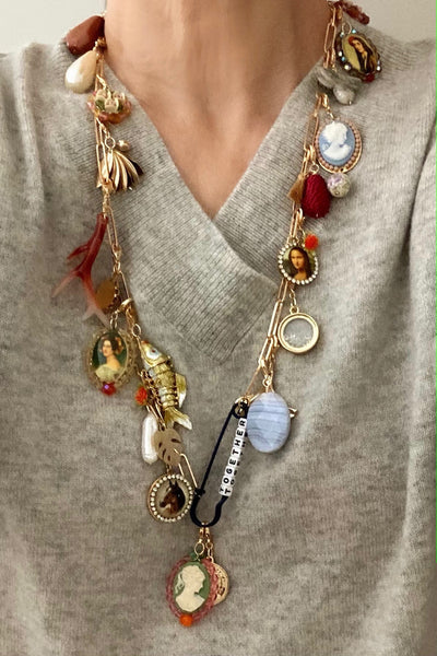 Pop Renaissance, multi charms necklace