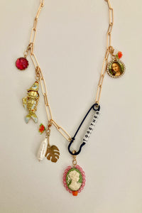 "charm necklace with ""together"" word, mona lisa, semi stone"