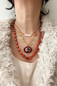 Colorful custom jewelry, pearl, knotted glass beads and flower cameo, bijoux
