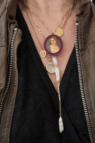 Necklace set with pearls and cameo, handmade in NYC Pop Renaissance Collection .