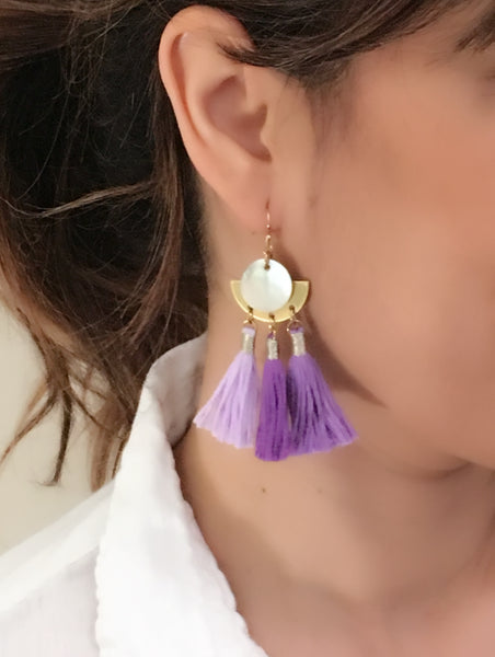 Rosa Triple Tassel Earrings