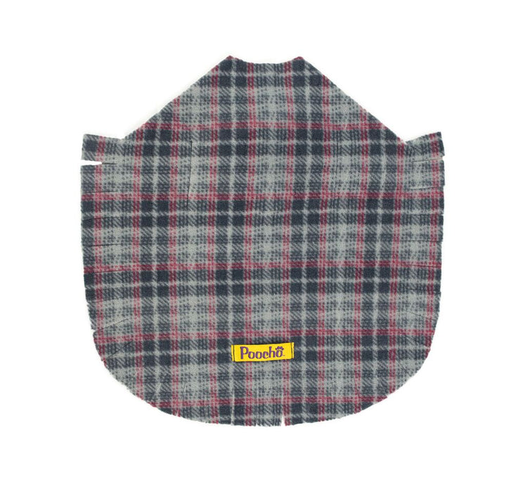 Gray Plaid Poncho w/ Bow