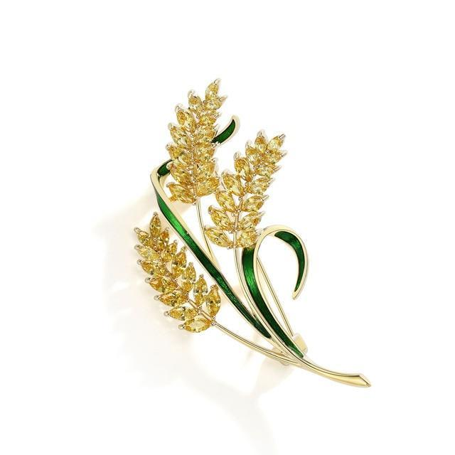 CNS Deals Brooch Pin Sparkling CZ Barley Branch Gold Plated Fashion Brooch Pin V02