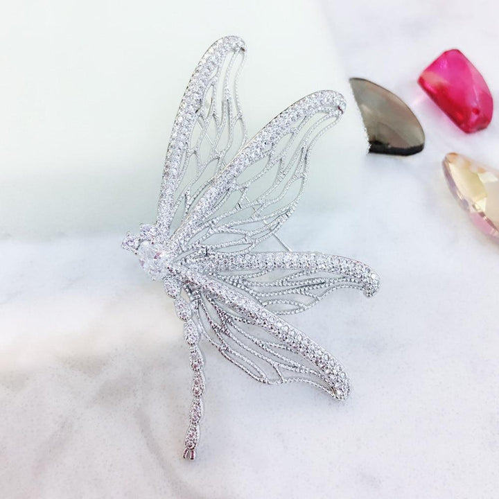 CNS Deals Brooch Pin T801565B-001 Glamorous Crystal Dragonfly Silver Plated Trendy Brooch Pin V02