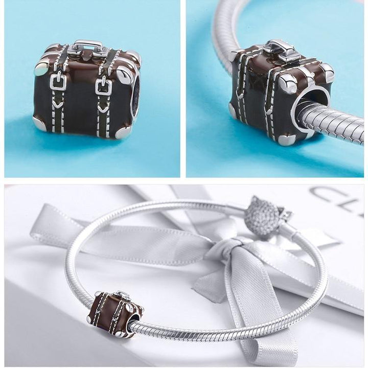 25951c794131 Brown Travel Suitcase Box 925 Sterling Silver Charm Bead B01