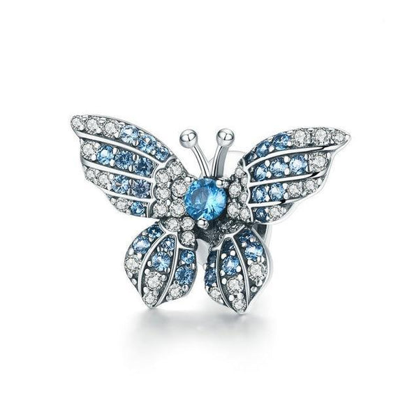 Fancy Blue Butterfly Insect 925 Sterling Silver Charm Bead B01
