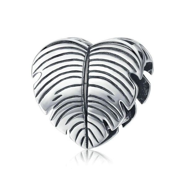Palm Tree Leaf Fossil 100% 925 Sterling Silver Charm Bead B01
