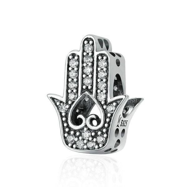 Good Luck Hand Of Fatima 925 Sterling Silver Charm Bead B01