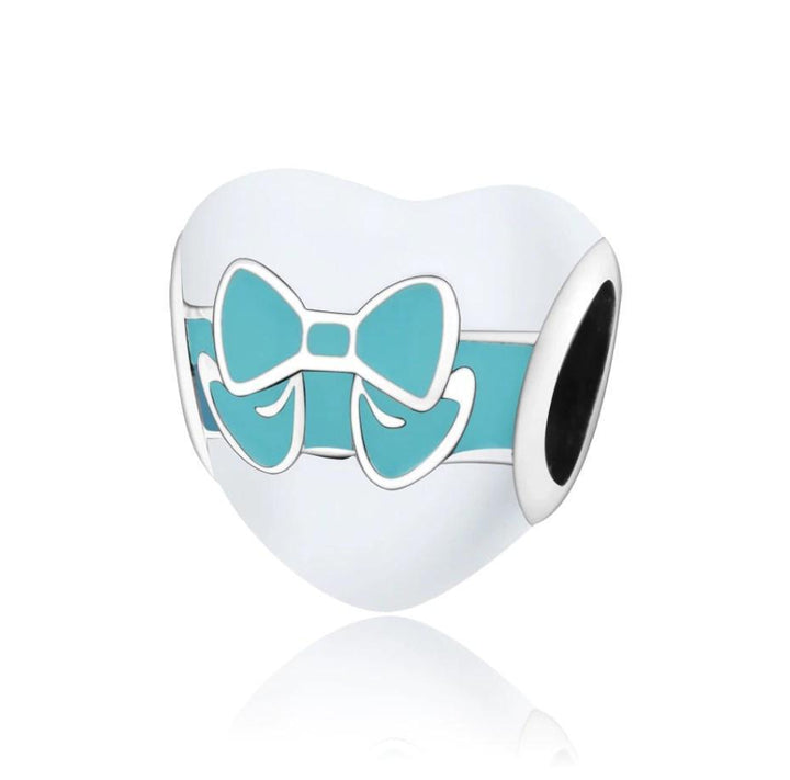 CNS Deals Charm Bead Heart Gift Box with Cyan Bow 925 Sterling Silver Charm Bead DIY S02