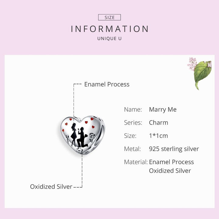 CNS Deals Charm Bead Marry Me My Heart Proposal 925 Sterling Silver Charm Bead DIY B01