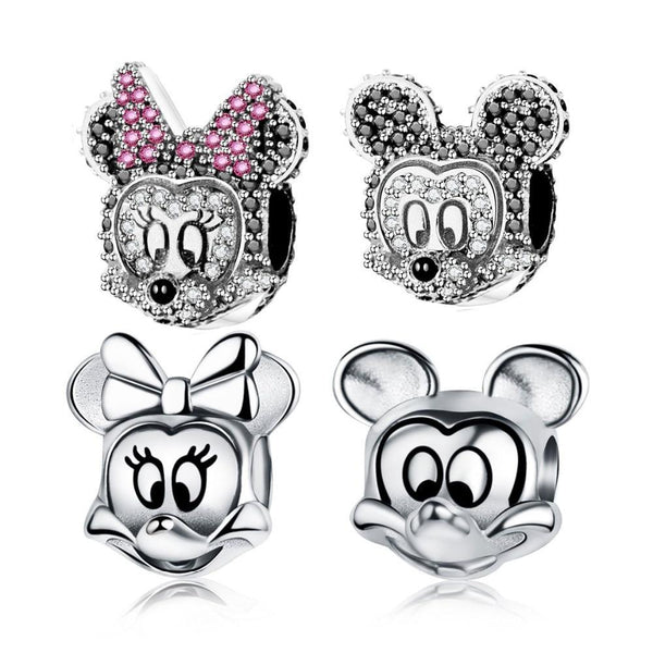 Mickey Minnie Cartoon Characters 925 Sterling Silver Charm Bead S02