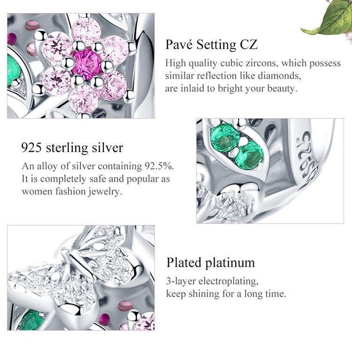 CNS Deals Charm Bead Openwork Butterfly Flower Garden 925 Sterling Silver Charm Bead DIY B01