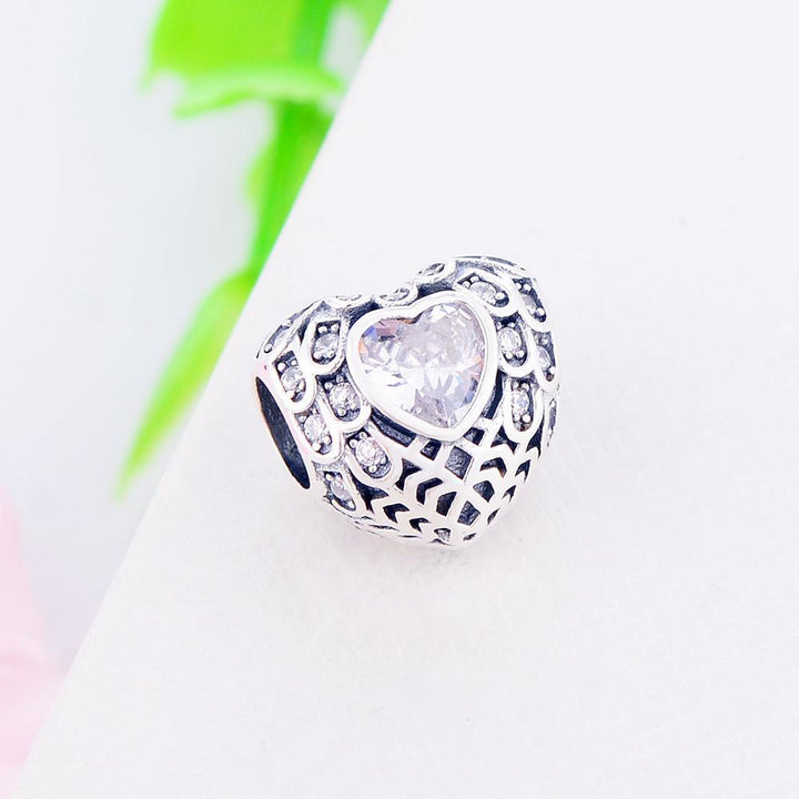 CNS Deals Charm Bead Openwork Teardrops On The Heart S925 Silver Charm Bead DIY S02