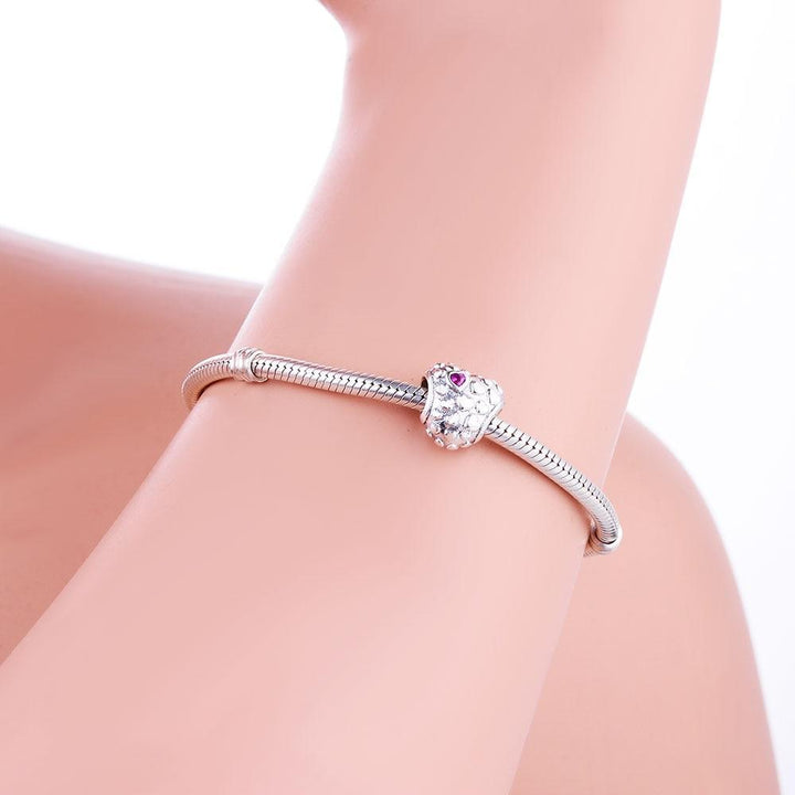 CNS Deals Charm Bead Pink CZ Million of Hearts 925 Sterling Silver Charm Bead DIY S02