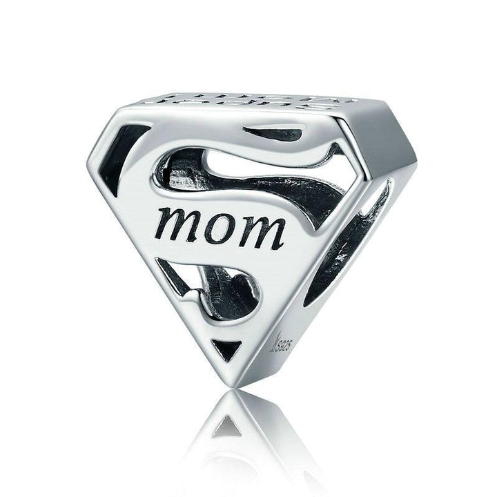 CNS Deals Charm Bead Silver Triangle Mom Engraved Bead for Charm Bracelets and Necklaces
