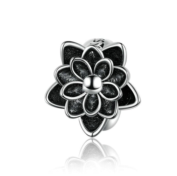 Vintage Black Lotus Flower 925 Sterling Silver Charm Bead B01