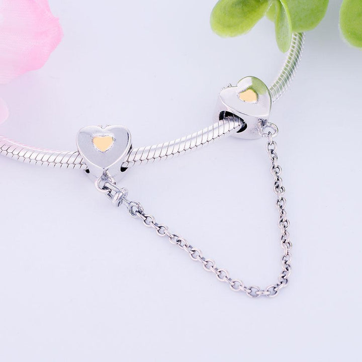 King Queen Golden Heart Crowns Silver Charm Safety Chain