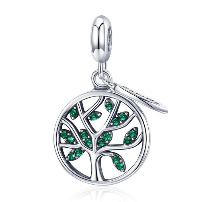 9ce90886f Evergreen Leaves Family Tree 925 Sterling Silver Charm Pendant B01