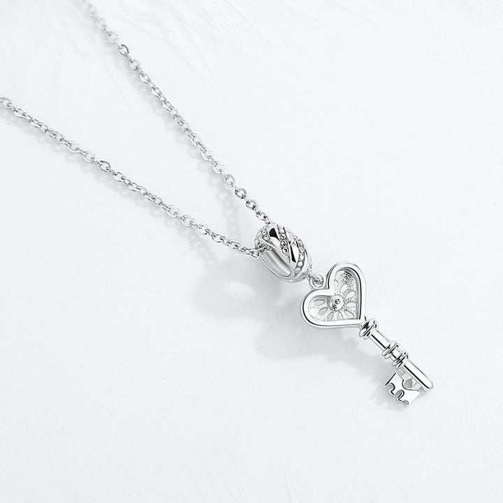 CNS Deals Charm Pendant Hollow Water Drops Heart Key 925 Sterling Silver Charm Pendant K01